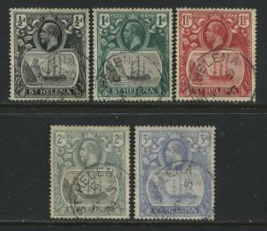 St. Helena KGV 1922 1/2d to 3d used