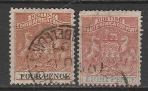 RHODESIA 1892 ARMS 4D AND 8D USED