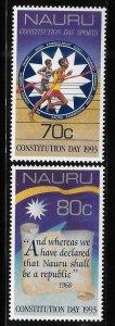 Nauru 1993 Constitution Day 15th anniv Sc 400-401 MNH A1735