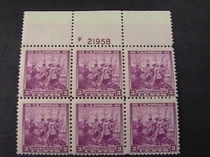 US # 836-MINT NEVER/HINGED-----PLATE # BLOCK OF SIX---THE SWEDES AND FINNS--1938