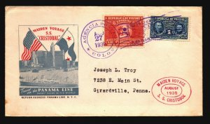 Panama 1939 SS Cristobal Maiden Voyage Cover  - Z18606
