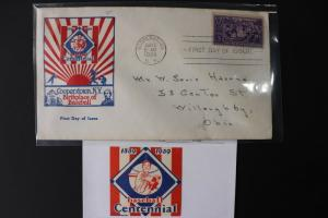 Baseball game League Centennial 1939 patch logo Poster 855 FDC Cooperstown NY