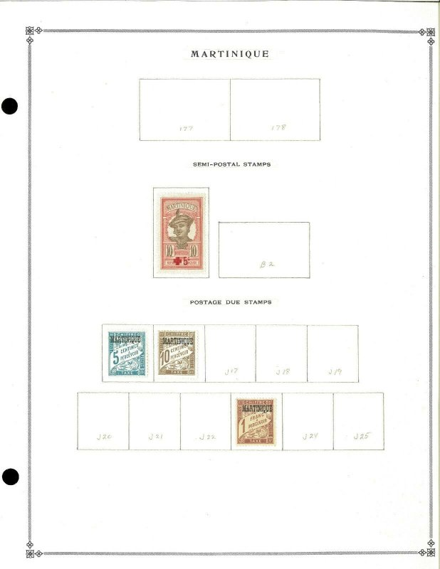 Malrtinique 1888-1933 M (mostly) & U Hinged on Blank Scott International Pages
