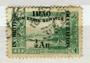 IRAQ; 1918 early BRITISH OCCUPATION STATE SERVICE issue used 1/2a. value