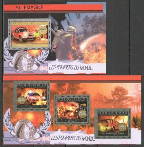 BC005 2012 GUINEA TRANSPORT FIREFIGHTERS FIRE TRUCKS POMPIERS GERMANY KB+BL MNH