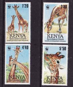D1-Kenya-Scott#491-4-unused NH set-WWF-Giraffes-Animals-1989