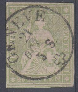 Switzerland Scott 29 Used (4 margins) Catalog Value $120.00