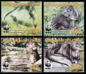 Ivory Coast WWF Speckle-throated Otter 4v 1st print with error MI#1349-1352A