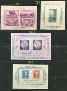 US Souvenir Sheets 778 797 948 1075  MINT NH