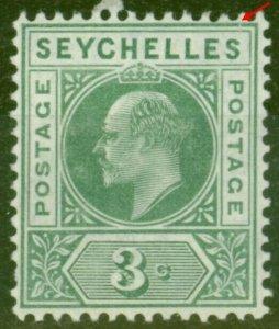Seychelles 1906 3c Dull Green SG61Var Slotted Frame Fine Mtd Mint