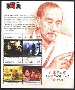 Grenada. 2005. Small sheet 5590-93. Filmmaker Yasuhiro, movies. MNH.