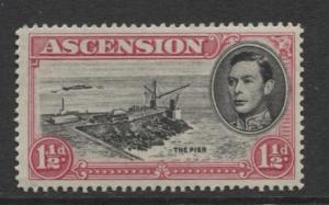 ASCENSION- Scott 42A - The Pier -1949 - MH - Single 1.1/2d Stamp
