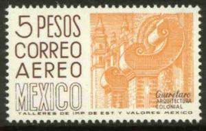 MEXICO C476a, $5.00 1950 Def 9th Issue Unwmk Glazed paper. MINT, NH. F-VF.