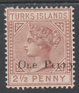 TURKS ISLANDS 1889 QV ONE PENNY ON 21/2D