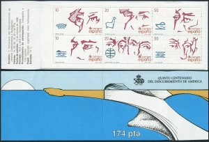 Spain 2574-2579a booklet,MNH. Discovery of America,500.1988.Conquerors,explorers