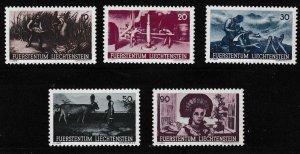 Liechtenstein 1941 Scott 166-170 Farm Work (5) Complete VF/NH/(**)