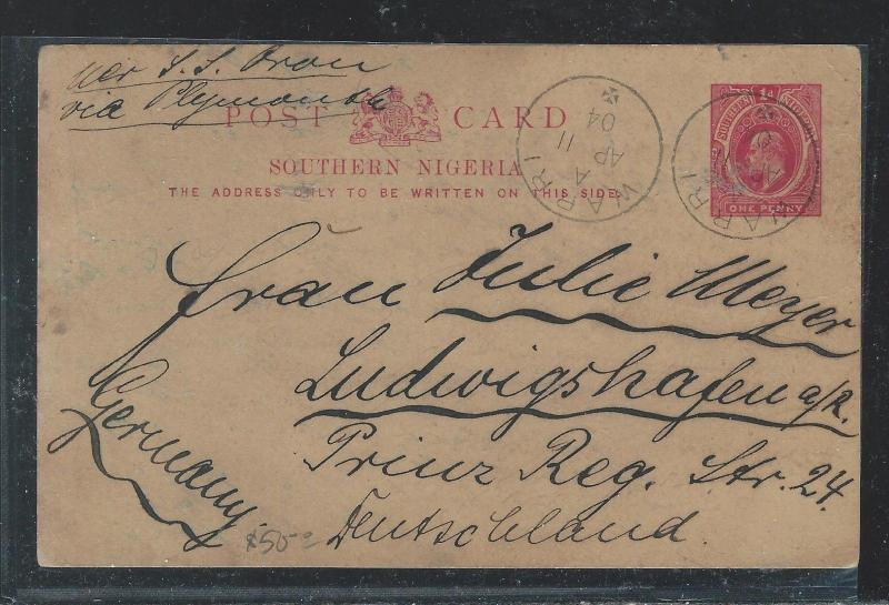 SOUTHERN NIGERIA  (P2709B) 1904 KE 1D PSC TO GERMANY WITH MSG