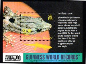 BR VIRGIN ISLANDS 975 S/S MNH SCV $5.00 BIN $3.00 GUINNESS WORLD RECORDS LIZARD
