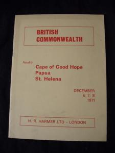 H R HARMER AUCTION CATALOGUE 1971 BRITISH COMMONWEALTH with CAPE PAPUA ST HELENA