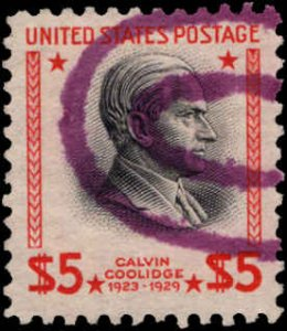 US #834 $5.00 CALVIN COOLIDGE USED - BLACK SHIFTED TO RIGHT