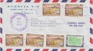 Honduras 8c Five-Year Plan (5) and 10c National Stadium 1959 Admon. Correos, ...