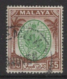 MALAYA NEGRI SEMBILAN SG62 1949 $5 GREEN & BROWN USED