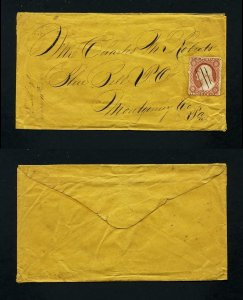 # 26 on cover from Greensburgh, PA, DPO, to Blue Bell, PA dated 1-11-1850's