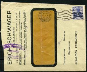 GERMANY WW I  1916 BRUSSELS OCCUPIED BELGIUM STAMP ON VERIFIED WINDOW ENVELOPE