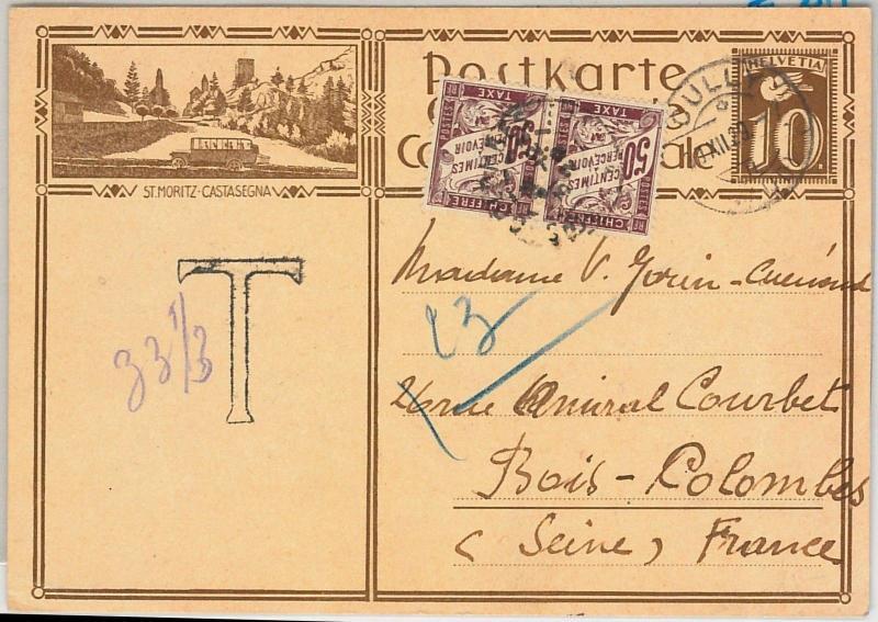 56656 - AUTOMOTIVE - SWITZERLAND - POSTAL HISTORY: STATIONERY CARD 1929 - Taxed!