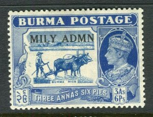 BURMA; 1945 early GVI MILY ADMIN issue fine Mint hinged 3a. 6p. value