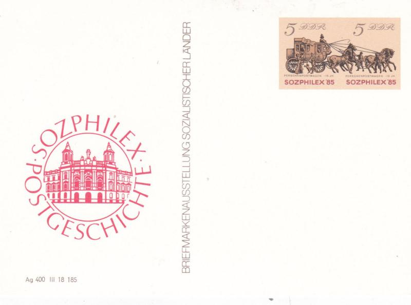 East Germany 1985 Sozphilex 85 Prepaid 5pfg Postcard Unused VGC
