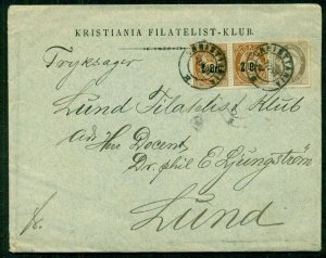 NORWAY 1891, Printed Matter Rate cover to SWEDEN (bkstp), scarce, signed Pollak