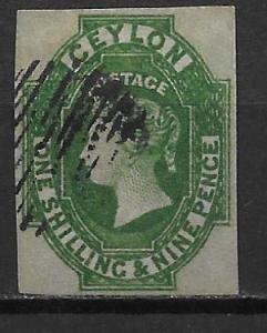 Ceylon 12 1sh9d Queen Victoria Single Used