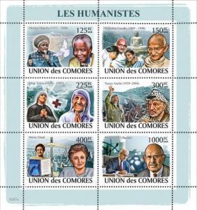 COMORES 2008 SHEET HUMANISTS MANDELA MOTHER TERESA GANDHI NOBEL PRIZE cm8207a
