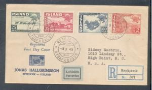 Iceland Sc 213-6 1949 UPU Anniversary stamp set on First Day Cover