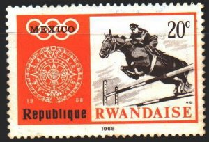 Rwanda. 1968. 282A from the series. Mexico City, summer olympics, equestriani...