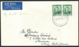 NEW ZEALAND 1957 first fight cover Auckland - New Caledonia................41869