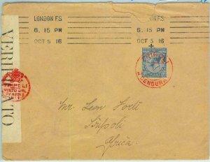 BK0879 - GB - POSTAL HISTORY -  COVER to TRIPOLI with CENSOR MARK + TAPE  1916