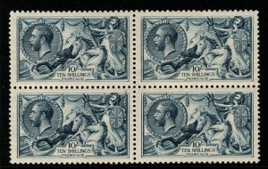 GB SG417 1919 10/= DULL GREY-BLUE BRADBURY WILKINSON MTD MINT BLOCK OF 4