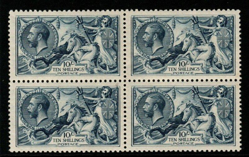 GB SG417 1919 10/= DULL GREY-BLUE BRADBURY WILKINSON MTD MINT BLOCK OF 4