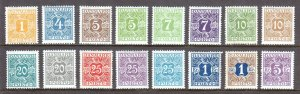 DENMARK — SCOTT J9-J24 — 1921-30 POSTAGE DUE SET — MH — SCV $193