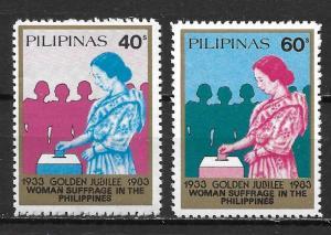 Philippines 1651-52 50th Women's Suffrage set MNH