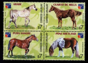 Uruguay Scott 1800 MNH**  Horse block of 4, Philex France 99 Logo
