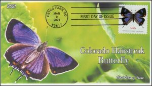 21-059, 2021,Colorado Hairstreak, First Day Cover, Estes Park CO, Butterfly,