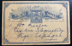 1890 Nicaragua Postal Stationery Postcard Cover To Vigo Spain