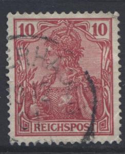 GERMANY. -Scott 55 - Definitives -1900 -Used - Carmine -Single 10pf Stamp1