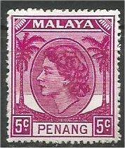 PENANG, 1954, MH 5c, Elizabeth II Scott 32