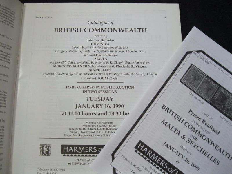 HARMERS AUCTION CATALOGUE 1990 COMMONWEALTH with SPECIALISED MALTA & SEYCHELLES