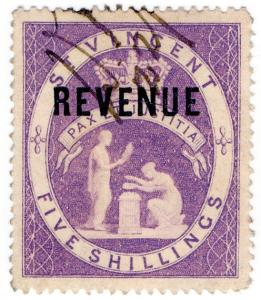 (I.B) St Vincent Revenue : Duty Stamp 5/- (1884)