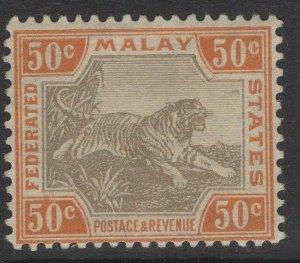 MALAYA FMS SG74b 1924 50c BLACK & ORANGE-BROWN MTD MINT